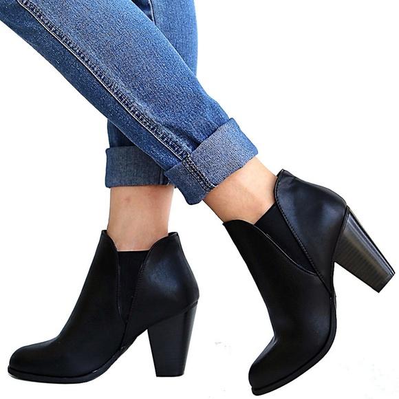 49ee0b1685b1 New Black Chelsea Elastic Heel Ankle Boots Booties